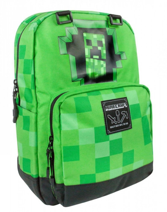 Ghiozdan Minecraft ORIGINAL Creeper Green licenta Jinx 44cm