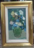 Vaza cu flori// ulei pe carton, autor roman