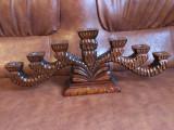 Design / Arta  / Lumanari - Menora / Sfesnic deosebit din lemn model sculptat !