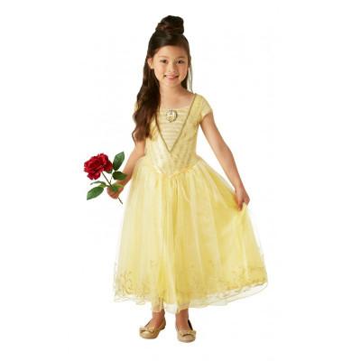Costum Disney Deluxe Belle, varsta 7-8 ani, marime L, Galben foto