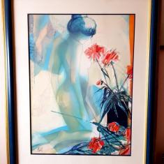 Tablou marae nud - acuarela semnata - Franata, Tempera, Art Deco