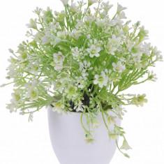 Planta Artificiala cu Flori Albe in ghiveci alb Rezistente la umiditate Aspect natural D15cm H totala 24cm