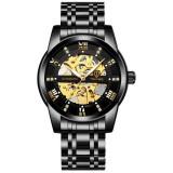 Ceas Luxury Diamond Full Automatic Skeleton Tevise Black Gold 2020 Barbati