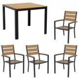 Set gradina,terasa masa patrata cadru aluminiu POLYWOOD NATURAL 90x90x74cm cu 4 scaune 60x57x89cm B003010-95203-9520 Raki