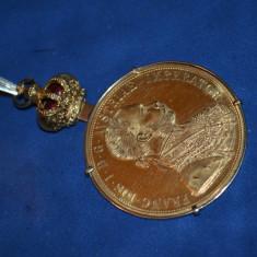 PANDANTIV AUR 18K + Moneda aur 24k 4 DUCATI + Coroana Medalie Austria - 20g. !