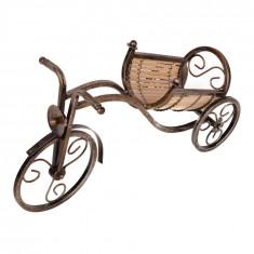 Suport sticla de vin, forma Bicicleta, Maro, 40 cm