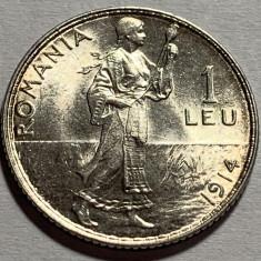 1 Leu 1914 Hamburg, Argint, Romania, UNC Luciu batere