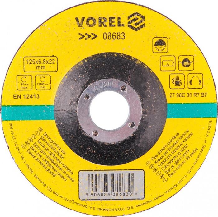 Disc pentru slefuit piatra 125x6.8x22 mm VOREL