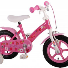 Bicicleta fete 12 inch Volare Flowerie cu roti ajutatoare si cosulet roz