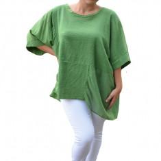 Bluza Avelia, cu croi lejer si asimetric, nuanta verde, 50, 52, 54, 56, 58