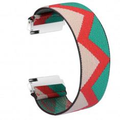 Curea textila elastica, compatibila Huawei Watch 2 Sport, telescoape Quick Release, India Model