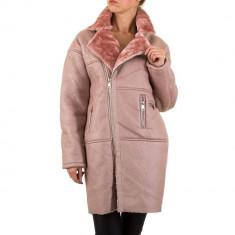 Jacheta calduroasa din piele ecologica, de culoare roz, L, M, S
