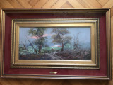 Tablou,pictura in ulei pe lemn,tehnica spaclu,semnat, Peisaje, Altul