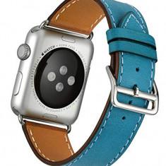 Curea pentru Apple Watch 38mm piele iUni Single Tour Albastru