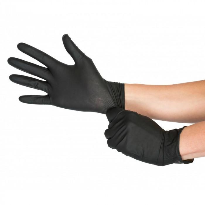Manusi de protectie din Nitril de unica folosinta negre - marimea S - 100 bucati