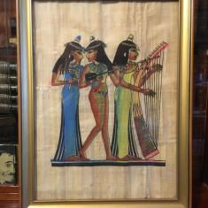 Tablou vechi artă egipteană pe papirus original (înrămat, 36x48 cm.)
