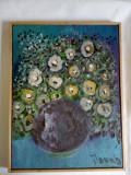 Tablou in ulei - Vas cu flori, Natura statica, Altul