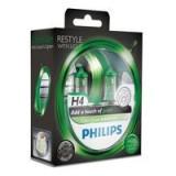 Set 2 Becuri Auto Philips H4 Color Vision Verde, 12V, 55W