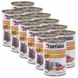 Conservă ONTARIO pentru pisici - cu pui, iepure și ulei - 12 x 400 g