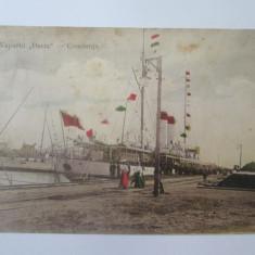 Carte postala Constanta-Vaporul Dacia,circulata 1910, Printata