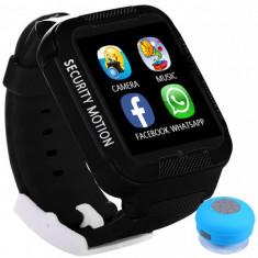Ceas GPS Copii iUni Kid3, Telefon incorporat, Touchscreen 1.54 inch, BT, Notificari, Camera, Negru + Boxa Cadou