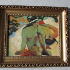 TABLOU- FEMEI PE PLAJA(nud)-inramat,ulei pe carton,rama deosebita,vintage