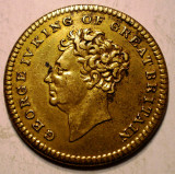 E.051 MAREA BRITANIE ANGLIA GEORGE IV 1762-1830 JETON BELOVED & LAMENTED 25mm