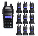 Cumpara ieftin Set 10 statii UV- 82 walkie talkie transiever, 5 W, dual band VHF, UHF, 2800 mAH , radio FM, BONUS cablu programare + CD