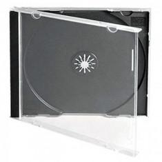 Set 7 carcase CD-uri/DVD-uri cu tavita neagra si fata transparenta jewel case