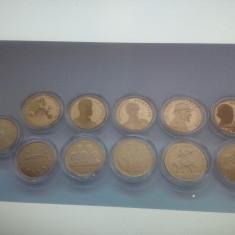 SET DE 11 MONEDE DE 50 BANI, JUBILIARE, PROOF DIN ANII 2010, 2017, 2018 și 2019