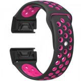 Curea ceas Smartwatch Garmin Fenix 3 / Fenix 5X, 26 mm iUni Silicon Sport Negru-Roz