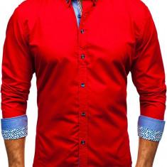 Cămașă elegantă pentru bărbat cu mâneca lungă roșie Bolf 8838