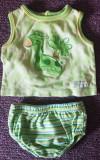 Set maieu si chilotei, bumbac, verde, pentru bebelusi 0-6 luni
