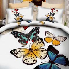 Lenjerie de pat dublu bumbac Print Butterflies, 220x230 cm