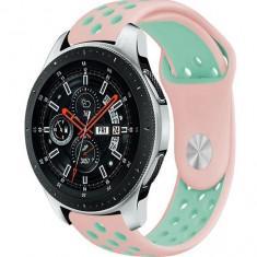 Curea ceas Smartwatch Samsung Gear S3, iUni 22 mm Silicon Sport Pink-Blue