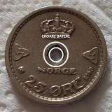 Moneda 25 ORE - NORVEGIA, anul 1950 *cod 331 - EROARE BATERE CERC!, Europa