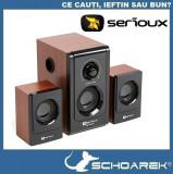 Boxe Multimedia 2.1 Serioux Soundboost ,  16W RMS, lemn cires