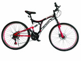 """Bicicleta MTB Full Suspensie Vision Kings 2D Culoare Negru/Rosu Roata 26"""" OtelPB Cod:202602010305"""