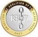 Moneda jubiliara Anglia - 2 lire 2007 - Abolirea sclaviei - aUNC