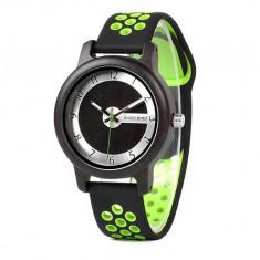 Ceas din bambus Bobo Bird cu curea din silicon verde, R11-2 Wooden Lux