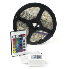 Banda RGB 150 SMD 5050 12v cu controler si telecomanda 24 taste ManiaLight
