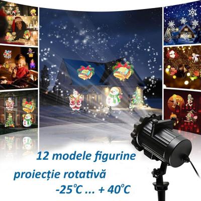 Proiector LED exterior 12W, 12 modele figurine, proiectie rotativa, IP44 foto