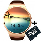 Ceas Smartwatch cu Telefon iUni KW18, Touchscreen 1.3 Inch, Notificari, iOS, Android, Gold + Card MicroSD 4GB Cadou