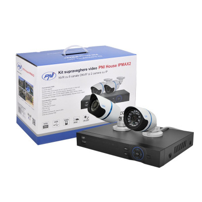 Resigilat : Kit supraveghere video PNI House IPMAX2 - NVR 12CH 960P ONVIF si 2 cam foto