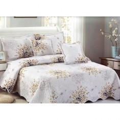 Cuvertură pat dublă, bumbac de finet, 5 piese, model Tree