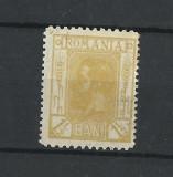 "TSV$ - LP 68 1911 CAROL I ""SPIC DE GRAU"" (1 1/2 B. GALBEN) MH/* - FARA GUMA, Nestampilat"