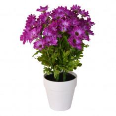 Crizanteme artificiale Mov in ghiveci alb Rezistente la umiditate Aspect natural pentru interior sau exterior D floare 37 cm D ghiveci 15 cm H totala