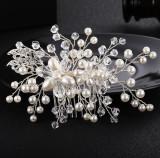Accesoriu der par handmade, cu perle ivory si margele transparente