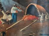 Tablou ulei pe panza satra de tigani peisaj pictura vintage