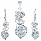 Cumpara ieftin Set din argint - cercei şi pandantiv, inimi cu zirconiu transparent, nod celtic